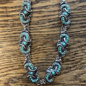 Silver Strike Turquoise & Silver Metal Necklace Se